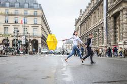 running in Paris's street