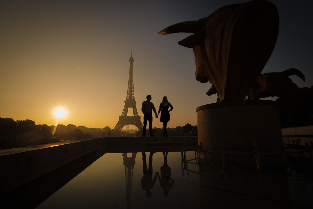 silhouettes at sunrise in paris