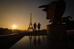 silhouettes at sunrise in paris