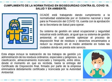 Cumplimiento de la norma en bioseguridad contra el COVID 19 en OCADE SAS