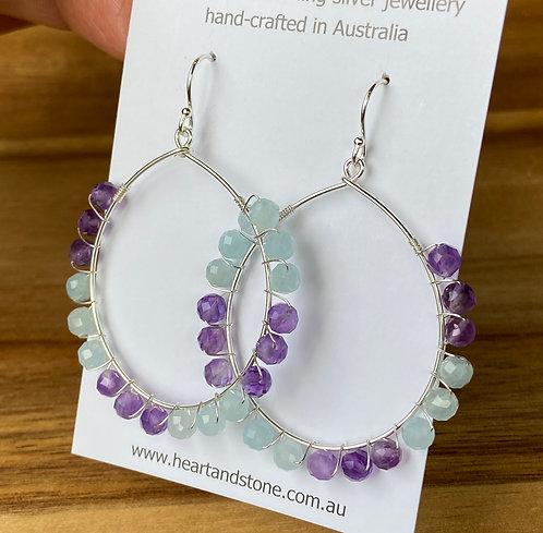 Amethyst & Aquamarine Earrings
