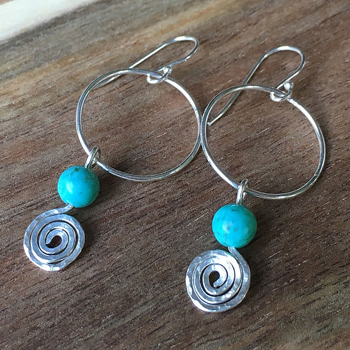 Turquoise Blue & Spiral Drop Earrings
