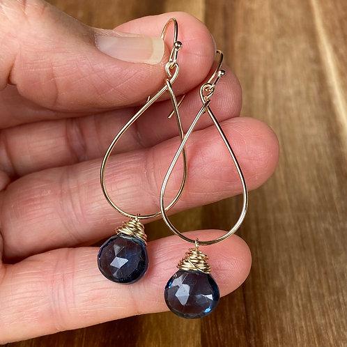Blue Qtz Teardrop Earrings - Gold