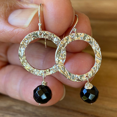 Black Agate & Silver Earrings