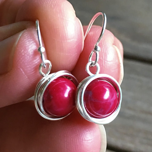 Red Howlite Wire Wrapped Drops