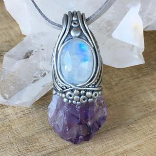 amethyst & rainbow moonstone pendant
