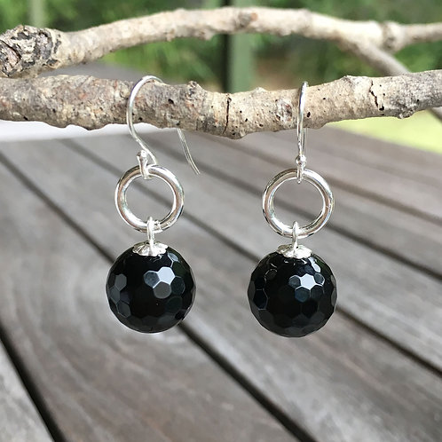 Faceted Black Agate Drops