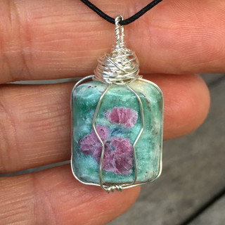 wire wrapped ruby in fuschite pendant