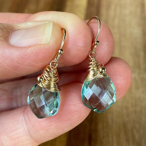 Blue/Green Qtz Earrings - Gold