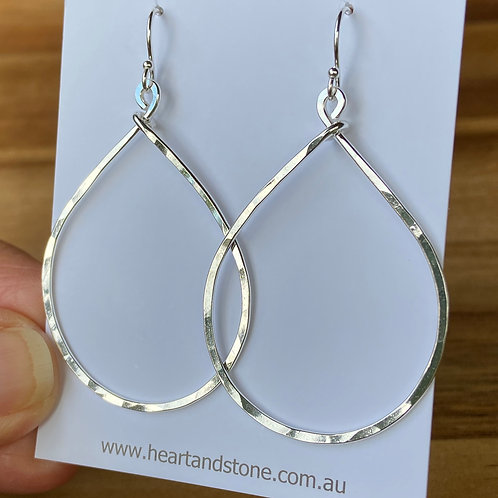 Hammered Teardrop Earrings - Silver