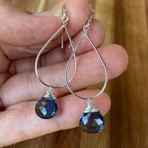 Blue Qtz Teardrop Earrings - Silver
