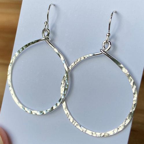 Hammered Hoop Earrings - Silver