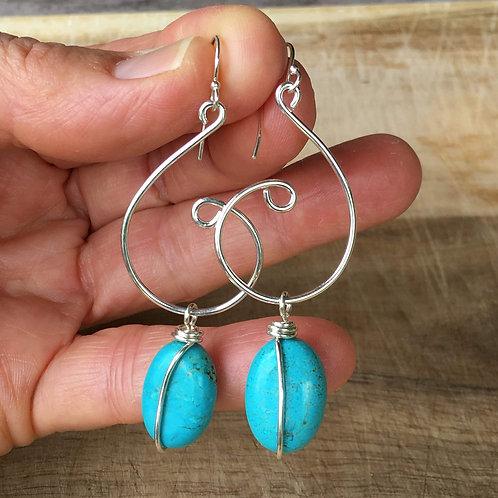 Swirl Earrings - Turquoise Blue