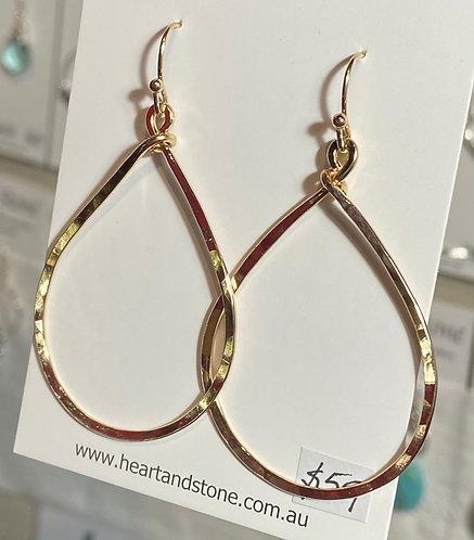 Hammered Teardrop Earrings - Gold