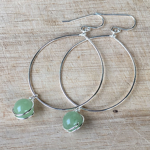 Hoop Earrings with Aventurine Drops