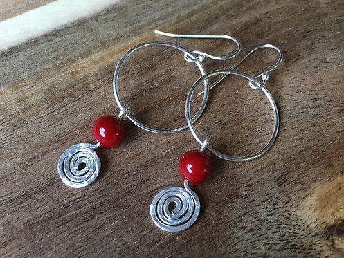 Red Coral & Spiral Drop Earrings