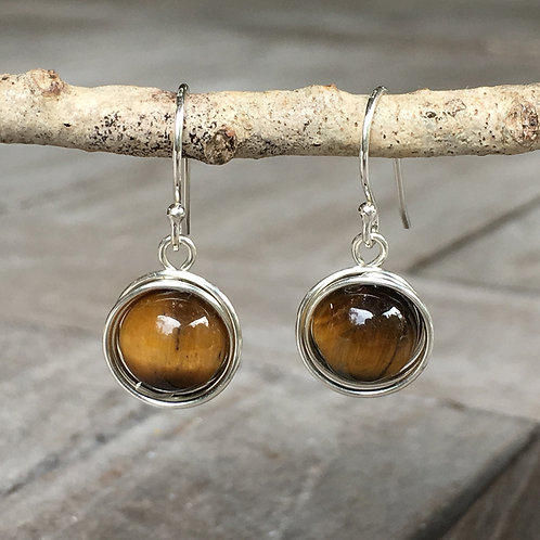 Wire Wrapped Drops - Tigers Eye