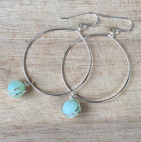 Hoop Earrings with Amazonite Drops