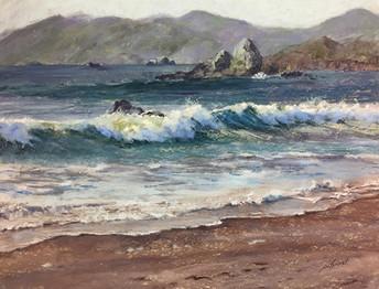 "Surf and Sea Stacks   18x24"""