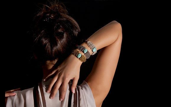 Leather wings Bracelet with Turquoise