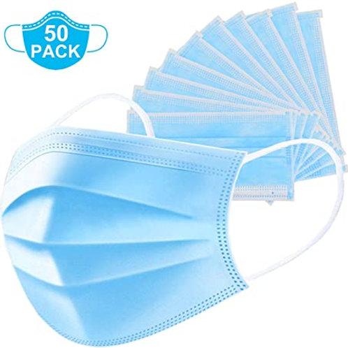 Blue Disposable Premium Earloop Face Masks (50PS/Box)