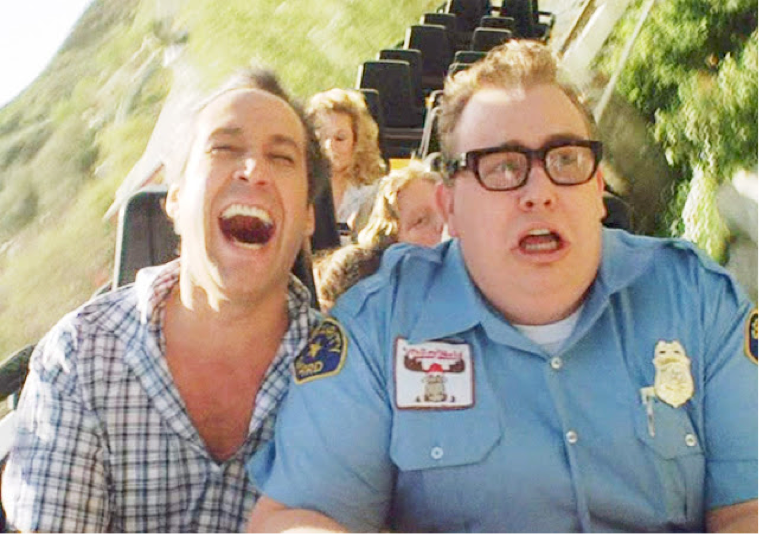 Clark Griswold and Lasky the Wally World Security Guard in Vacation