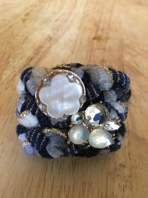 marine & gris bijoux foulard