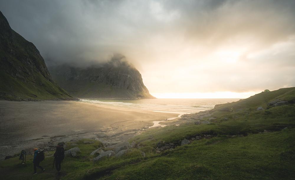 Kvalvika beach in the western part of the Lofoten islands