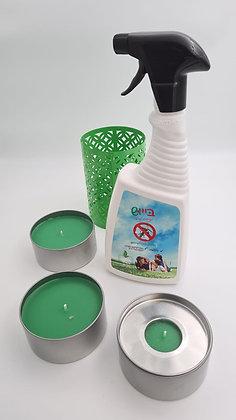 בייוש תרסיס + נרות ציטרונלה - להרחקת יתושים ומעופפים