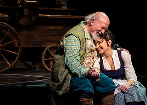 Maurice with Belle (Stefanie Craven), Beauty and the Beast, Syracuse Stage, Nov. 2019-Jan. 2020. (Rey Villegas photo.)