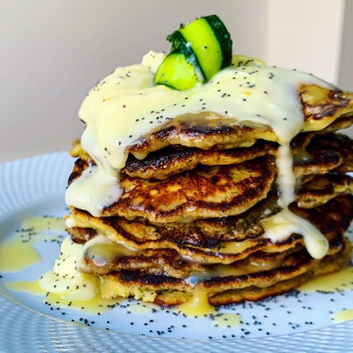 Lemon, courgette and poppyseed pancakes with lemon drizzle and lemon cream cheese frosting