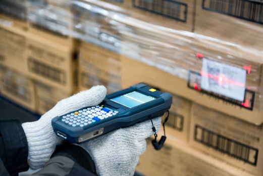 Bluetooth barcode scanner checking goods