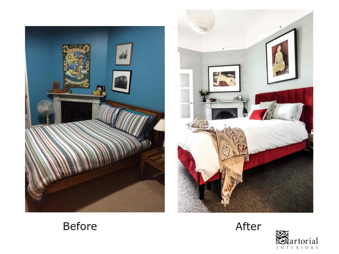master bed- room before and after
