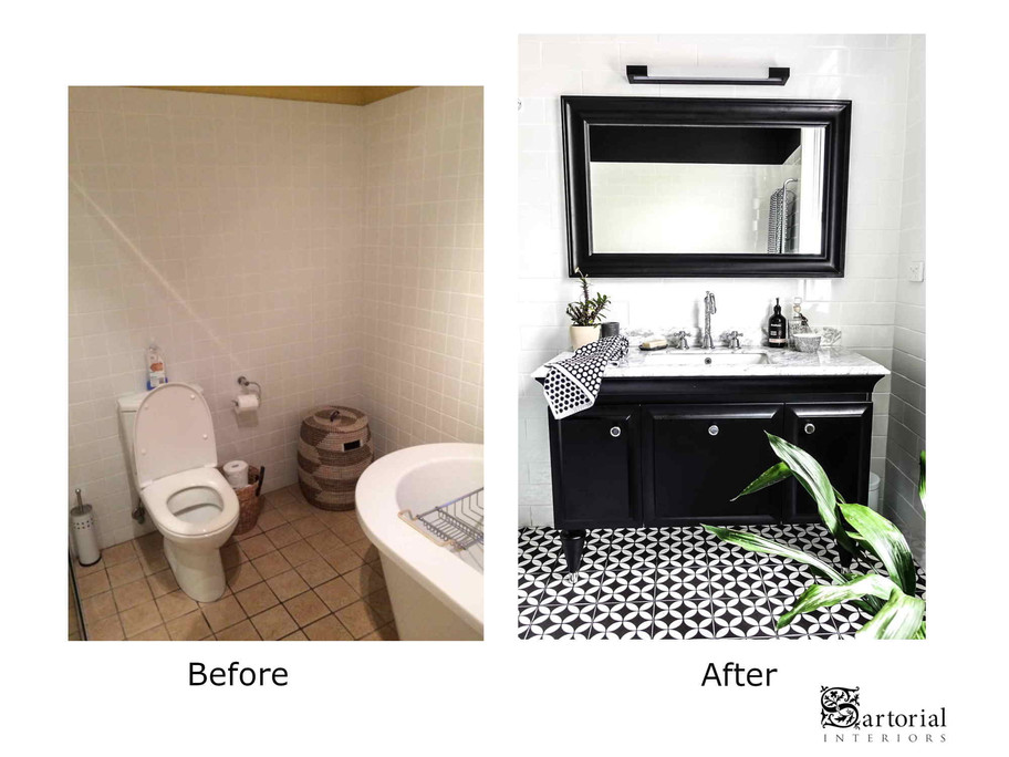 bath- room vanity before and after