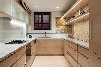 Timber veneer and marble kitchen.jpg