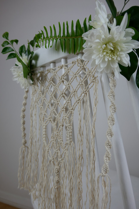 macramé chair decoration