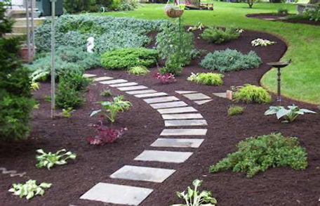 Walkway with mulch and pavers