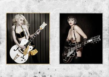 modèles : Julietta La Doll & Tessa guitares : Gretsch G6136 CST White Falcon & Gretsch 6136 TSL Silver Falcon
