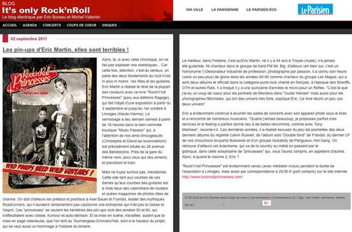 """article web Le Parisien Blog """"It's only rock'n'roll"""" septembre 2011"""