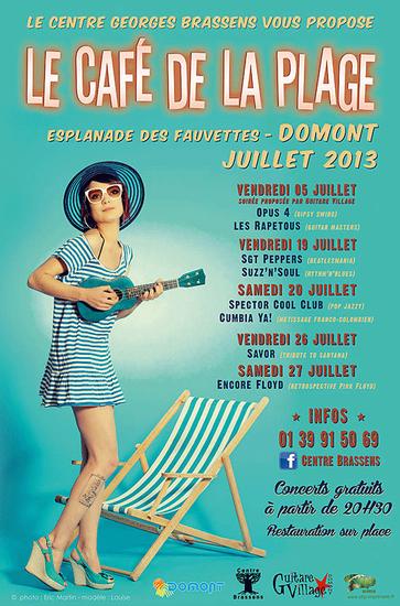 """affiche festival """"Le Café de la Plage"""" juillet 2013"""