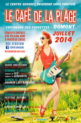 """affiche festival """"Le Café de la Plage"""" juillet 2014"""