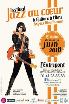 """affiche festival """"Jazz au Coeur et Guitare à l'Âme juin 2018"""
