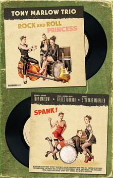"modèles : July Herrewyn, Psy & Pomme d'Amour pochette pour le 45T du Tony Marlow Trio ""Rock and Roll Princess / Spank"" 2016"