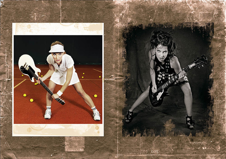 modèles : Sandy Neige & Anouk guitares : Gibson Melody Maker Joan Jett signature & Gibson Les Paul Joe Perry