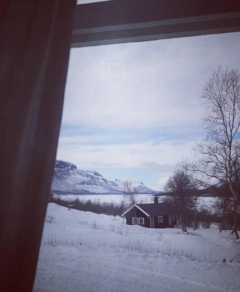 Saltoluokta fjällstation. Utsikt från restaurangen.