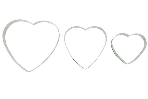 Heart Shaped Cookie Cutters - Pack of 3