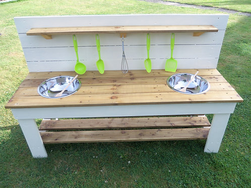 Painted Mud Kitchen - 2 Bowls (140cm)