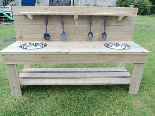 Untreated Mud Kitchen - 2 Bowls (140cm)
