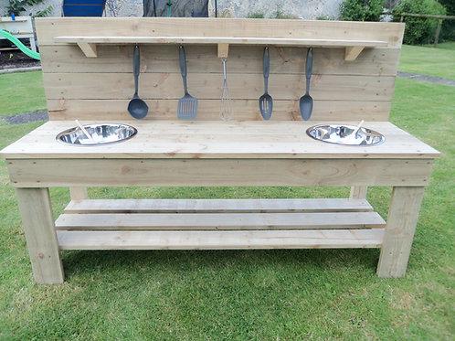 Untreated Mud Kitchen - 2 Bowls (140cm)