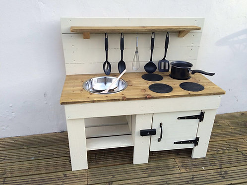 Custom-Made Mud Kitchen with Cupboard, 1 bowl & hobs